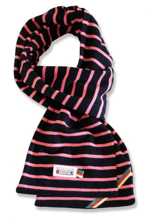 breton scarf navy fuxia