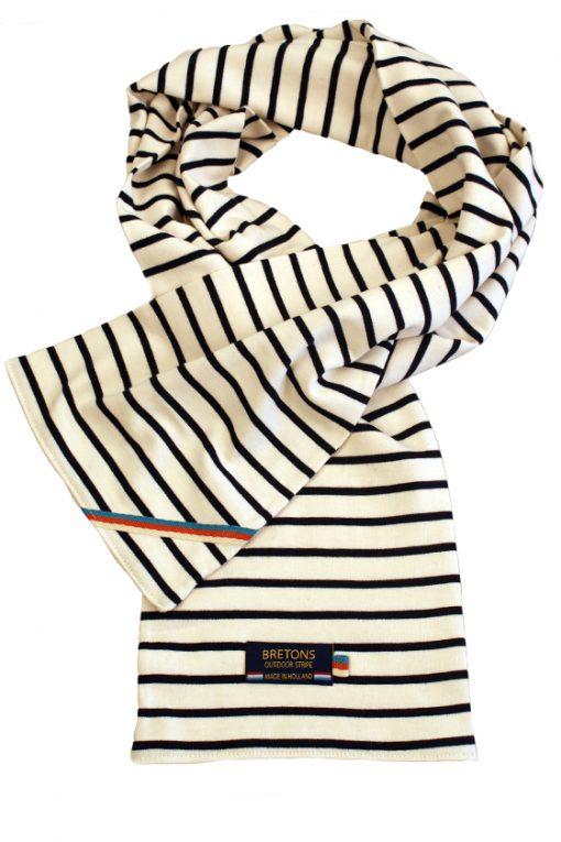 breton royal scarf naturel navy