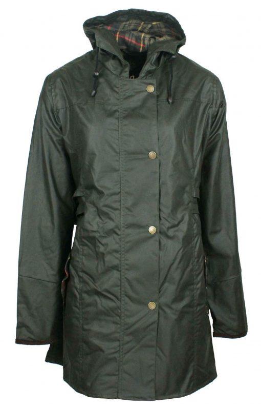 W218-Katrina-GREEN-womens-hooded-wax-jacket